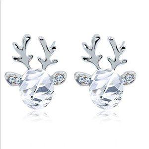 Christmas Reindeer Silver Plated Earring